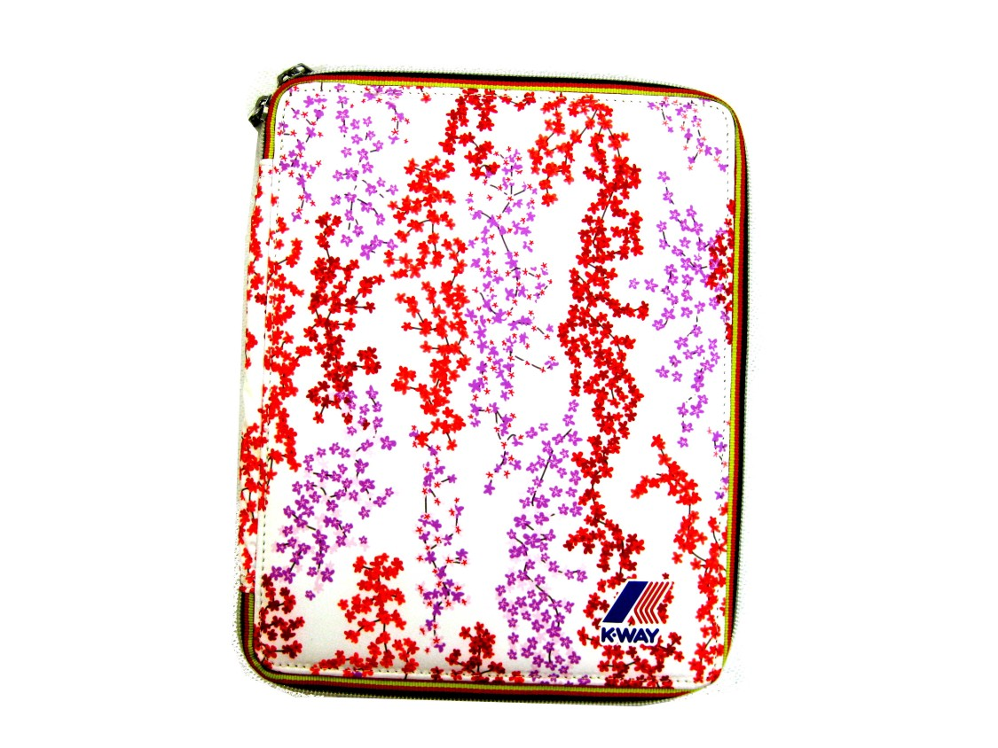 shop K-WAY  PORTA TABLET: PORTA TABLET BIANCO A FANTASIA FLOREALE MUST HAVE K-WAY UNISEX NYLON, STAMPA FIORI ROSSI E LILLA, ZIP CON PROFILI COLORATI, LOGO, IMBOTTITURA RIGIDA, ELASTICI INTERNI, IMPERMEABILE. LARGHEZZA 20 CM, ALTEZZA 25 CM, PROFONDITA' 2 CM. number 1075